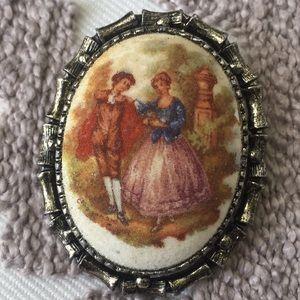 Vintage glass pin.